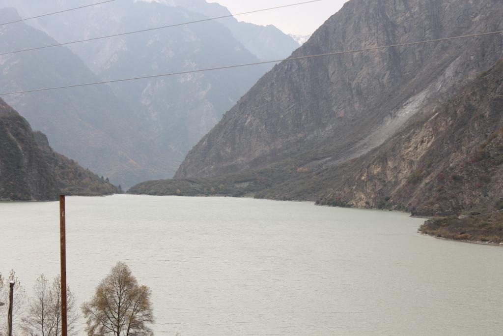 Slope movement partially damming the Minjian River, Northern Sichuan, China.