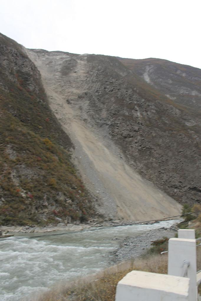 Another active landslide along the Minjian River, Northern Sichuan, China.